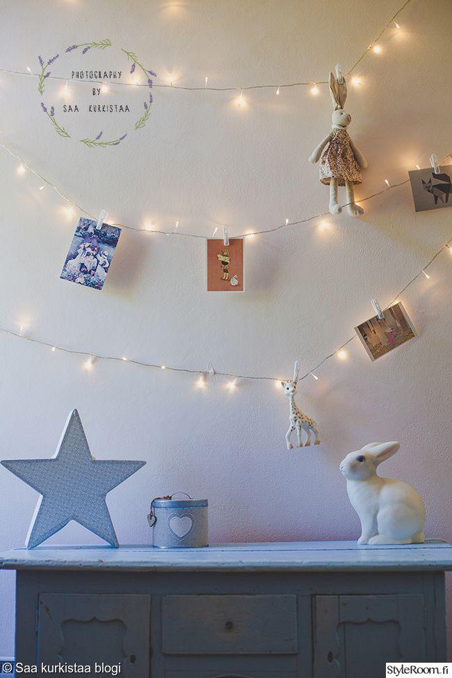 tytön huone, lastenhuone. Saa kurkistaa blogi. Nursery corner with string lights.