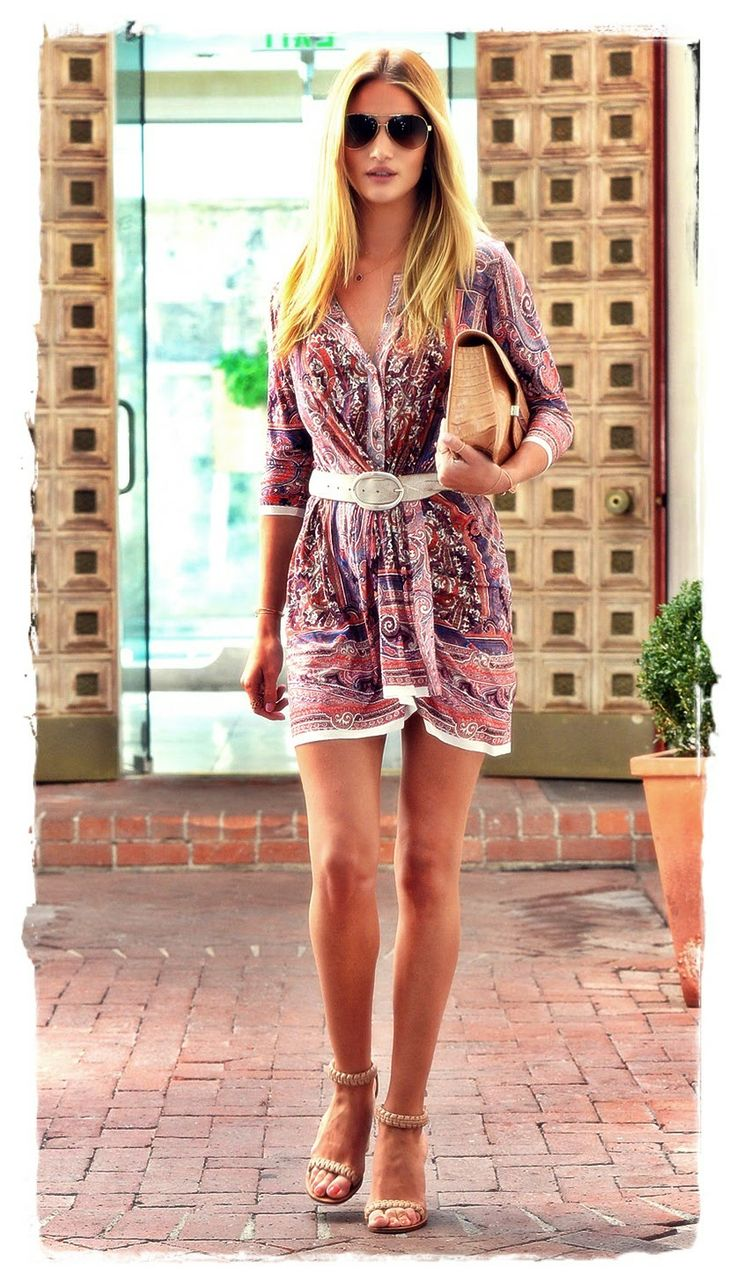 Rosie #Huntington Whiteley Street Style Snapshot - Victoria's Secret model Rosie Huntington-Whiteley was photographed leaving a beauty salon in LA Thursday afternoon wearing a multicolored paisley print Isabel Marant dress. The mini V-neck frock featured gathered pleating at the waist and highlighted the model's endless legs.  Braided Chloe sandals, an Isabel Mirant belt, and Burberry aviator sunglasses provided the finishing touches for this summery look.