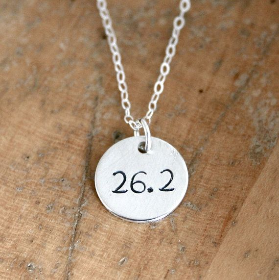 Sterling Silver 26.2 marathon necklace   marathon by JustJaynes, $19.00