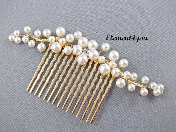Bridal hair comb, gold branches, pearl flower, Swarovski ivory or white pearls, wedding hair piece, accessories, rhinestone, Bridal hairdo on Etsy, $26.00