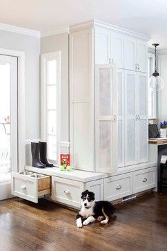 Dog food, water in mudroom.  Placing dog food and water in a drawer doesn't work.  Need food storage, sink.