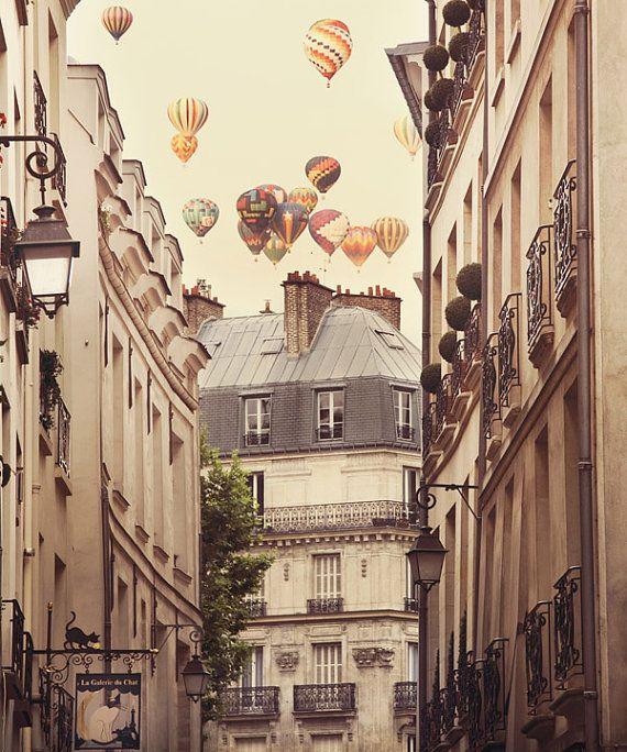 Paris Decor, Large Fine Art Print, Hot Air Balloons, Paris Decor, Beige Wall Decor - Paris is a Feeling