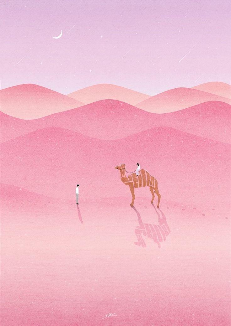 <내게낙타나줘>, 언젠가 나타날 인연을 생각하며 작업했다. 제발 나타나줬으면 하는 바람을 낙타를 타고 온 여인의 이미지에 담았다.