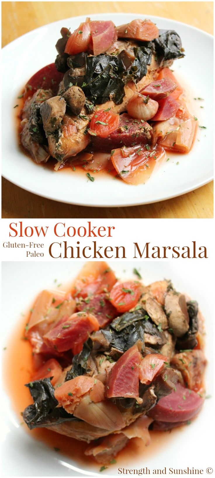 Slow Cooker Chicken Marsala | Strength and Sunshine @RebeccaGF666 Chicken slow cooked with loads of vegetables and marsala wine. Slow cooker chicken marsala is a no-fuss and fun twist on the Italian classic. A perfect healthy gluten-free and paleo weeknight dinner recipe the whole family will enjoy!