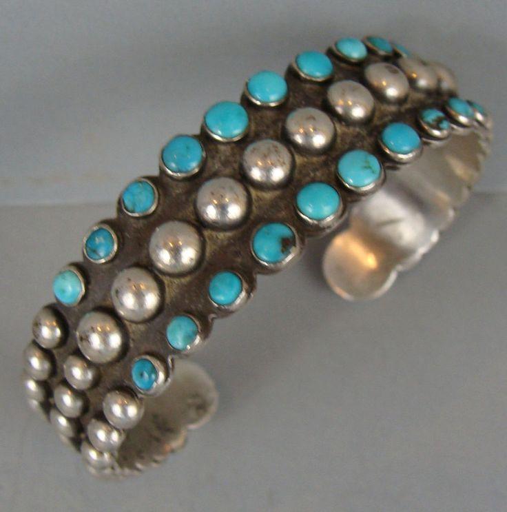 UNIQUE Vintage NAVAJO Turquoise Silver Ball Terminal Bracelet