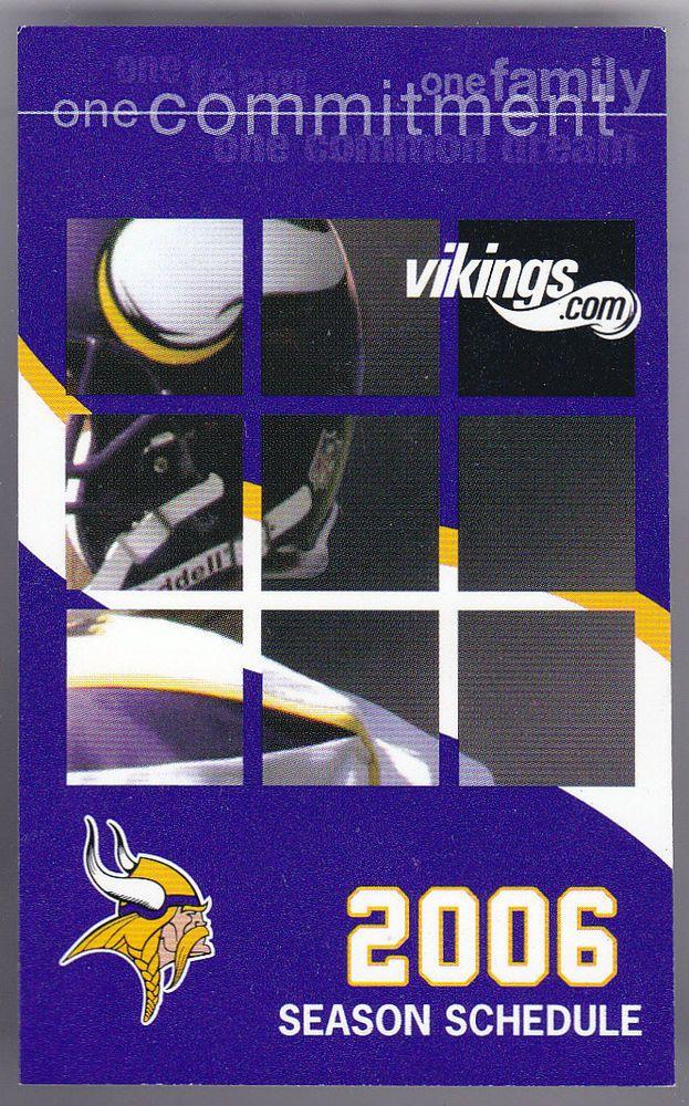 2006 MINNESOTA VIKINGS.COM FOOTBALL POCKET SCHEDULE NMMT FREE SHIPPING #Pocket #MinnesotaVikings #SCHEDULE