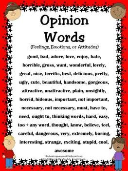 FREE - Opinion Words - Visual Poster For Students To Use. This will help them identify fact and opinion. #Reading #FREE
