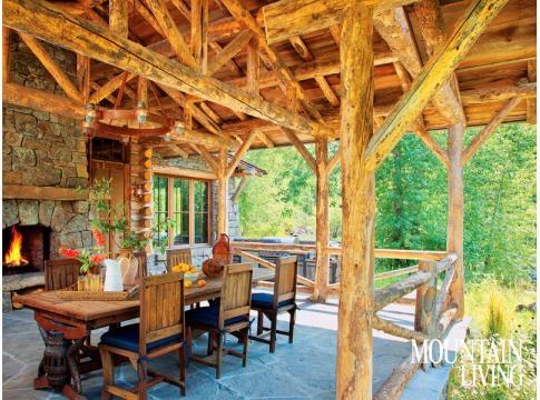 Montana Log House Rustic Western Stone Fireplace Log