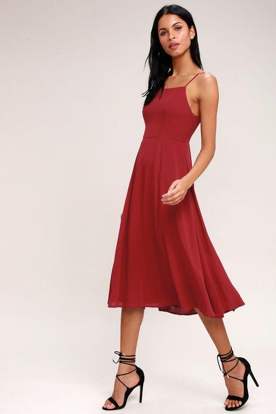 385ec9d8e56a Going Coastal Berry Red Midi Dress 2
