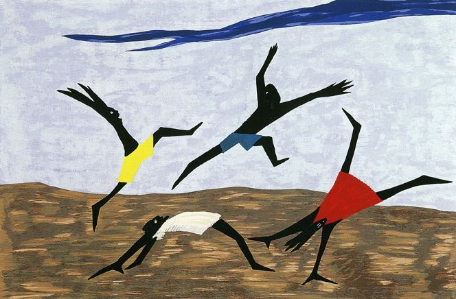 A Jacob Lawrence piece is a must love the motion and takes me back to the carefree childhood days!