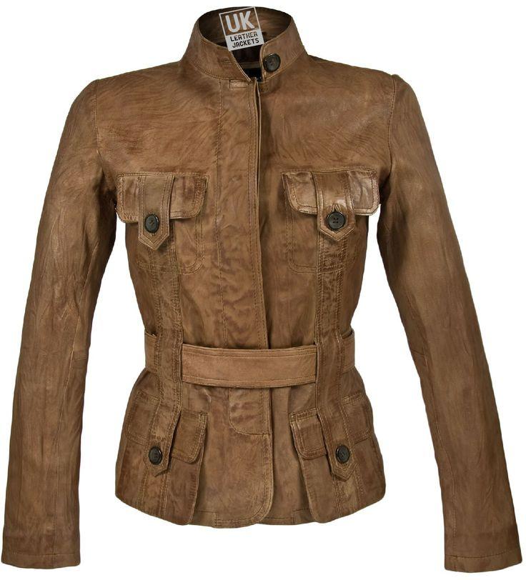 ladies vintage leather jacket | Womens Vintage Tan Leather Jacket -  Eternity - Buttoned