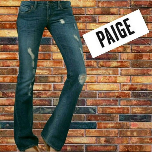 Paige Jeans Laurel Canyon 28 x 34 distressed denim These Paige Jeans are the coolest! Factory distressed thighs and light distress leg hem. Stylish without trying look. Great condition. 33 inch inseam.  Laurel Canyon No trades please Paige Jeans Jeans