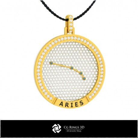 3D CAD Aries Zodiac Constellation Pendant