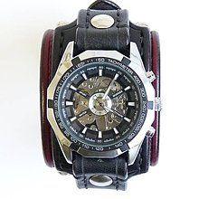 Náramky - Gotické kožené hodinky červeno čierne, lebka, punk hodinky - 6238280_