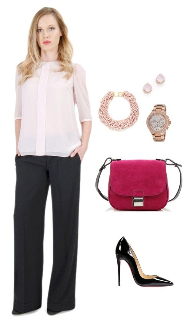 Business Look In Dusty Pink by yokko-the-fashion-store on Polyvore featuring Christian Louboutin, Proenza Schouler, Kenneth Jay Lane, Kate Spade and Michael Kors  #yokkoromania #spring2016 #fashion #ss16 #madeinromania #officeoutfit #feminity #dustypink #pink #business #outit