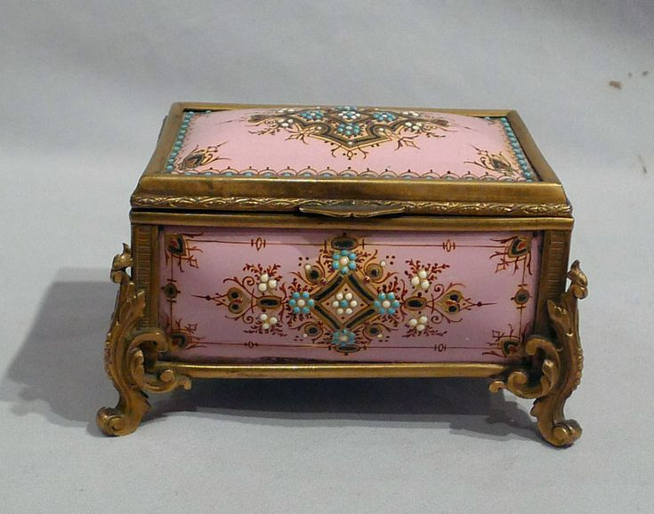 Jewelled enamel and gilt bronze jewellry casket - France  c.1890