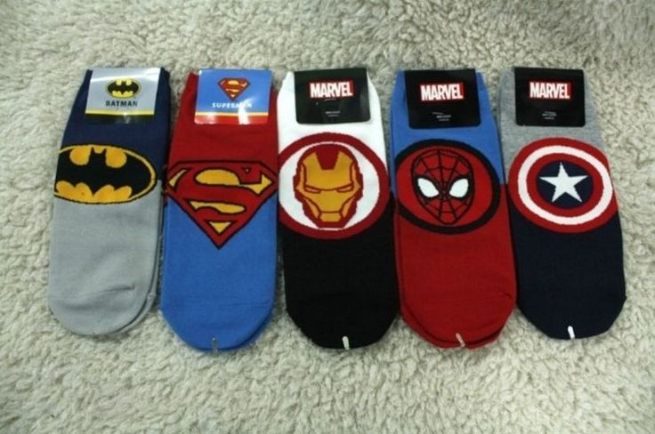 New Men-size Marvel World Heroes Character Emblem Ankle Cotton Socks_5 options #Unbranded #Casual