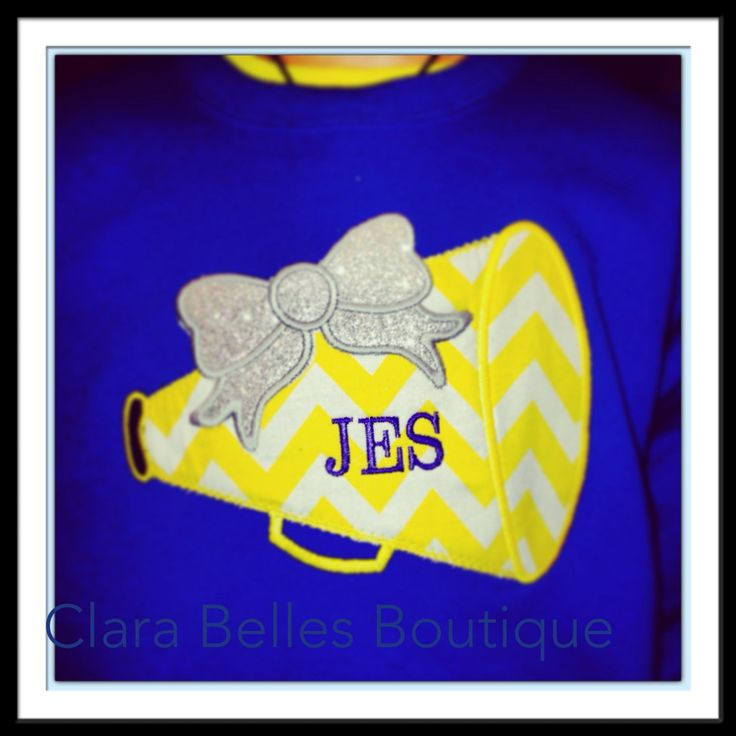 Cheer Megaphone With Glitter  Bow Personalized Cheer Shirt Spirit Shirt Girls Cheer Shirt (22.00 USD) by ClaraBellesBoutique