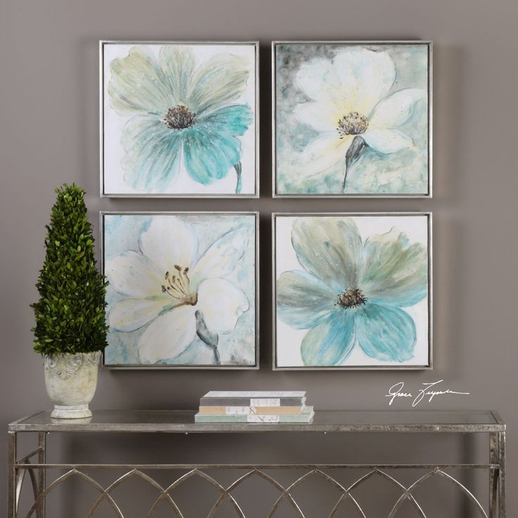 Uttermost Florals In Cream And Teal Framed Art (Set of 4) (art), Silver (Acrylic)