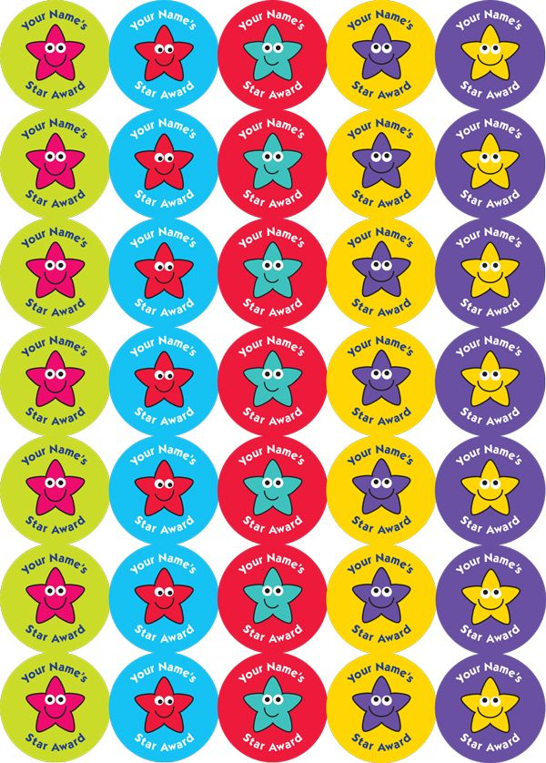 Customisation - Speedy Personalised Stickers - 37mm Personalised stickers: '*Your Name's* Star Award'. Mixed Stars. 4 sheets, 140 stickers. - The Sticker Factory