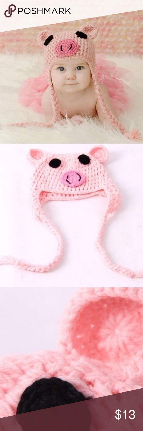 Crochet / Knit Piggy Hat / Cap Baby pink, pig hat is hand crocheted for your baby girl.  The baby piggy hat is made of a soft pastel pink acrylic yarn. The hat features dark pink circle nose with black and two black eyes.  The hat will fit most babies ages 0-12 months and will stretch as baby grows! None Accessories Hats