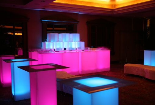 Glow furniture glow bars glow tables furniture rentals for Furniture rental new york