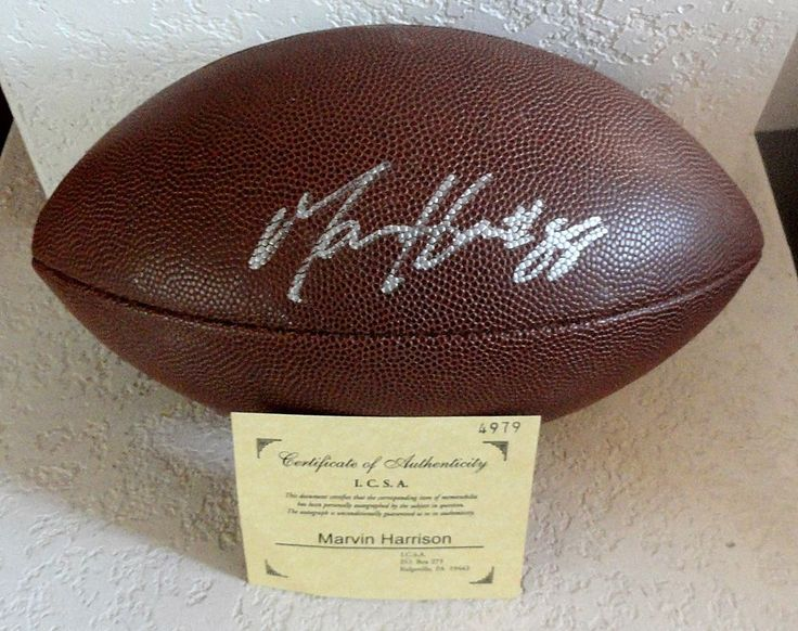 NFL Indianapolis Colts MARVIN HARRISON #88 Signed Autographed Football w/ COA #IndianapolisColts