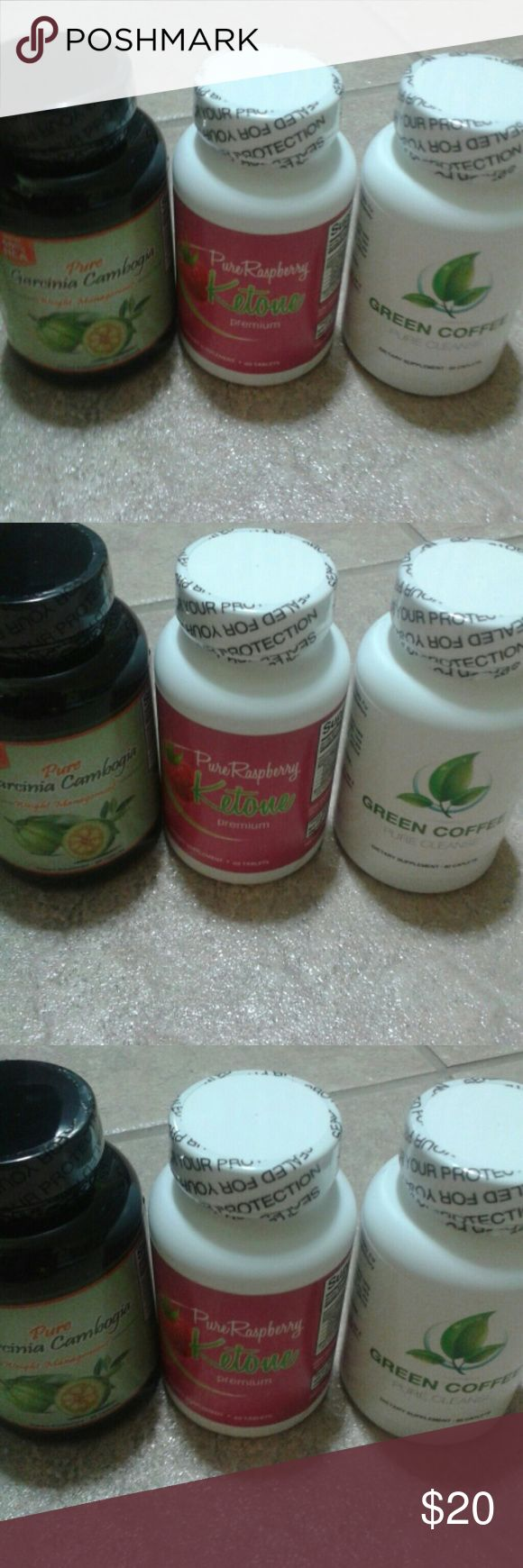 """NWT green coffee pure cleanse and other herbs NWT green coffee pure cleanse dietary supplement 60 caplets, supplement for weight loss, Garcinia cambogia,dietary supplement with 60 capsules and pure raspberry premium all dietary supplements for weight loss. Bundle of 3,brand new with 60 capsules in each bottle. Get with the """"healthy """"and comfortable with weight loss program! New!Never used,retail price over 40$$selling this item for a great price!New! green coffee  Accessories"""
