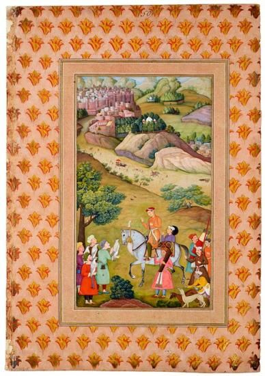 The Young Akbar - Akbar greets four men with falcons and is attended by men bearing a fan, sword, spear, quiver of arrows, and what appears to be a bow. A dog handler with two salukis occupies the lower right corner. Leaf from the Read Mughal Album, probably by Manohar Mughal ca. 1596–97   The Morgan Library & Museum