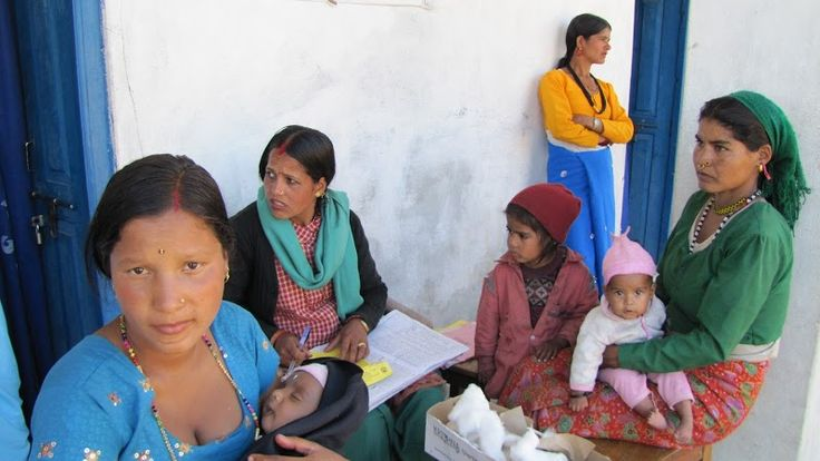 Women come to the health post to meet the health assistants at Sharmali, Baitadi!