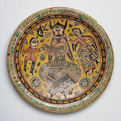 Plate with depiction of an armoured musician, 10th Century, Nishapur, Iran, The Nelson Atkins Museum of Art, Kansas City