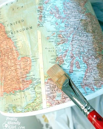 I had made lampshades in the past (see How to Make Lampshades from Photographs), so I'm partial to this Map Decoupage Shade from Pretty Handy Girl.