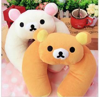1 piece black and white beige brown stuffed animal pillow soft plush panda neck pillow rilakkuma cushion for car seat decoration
