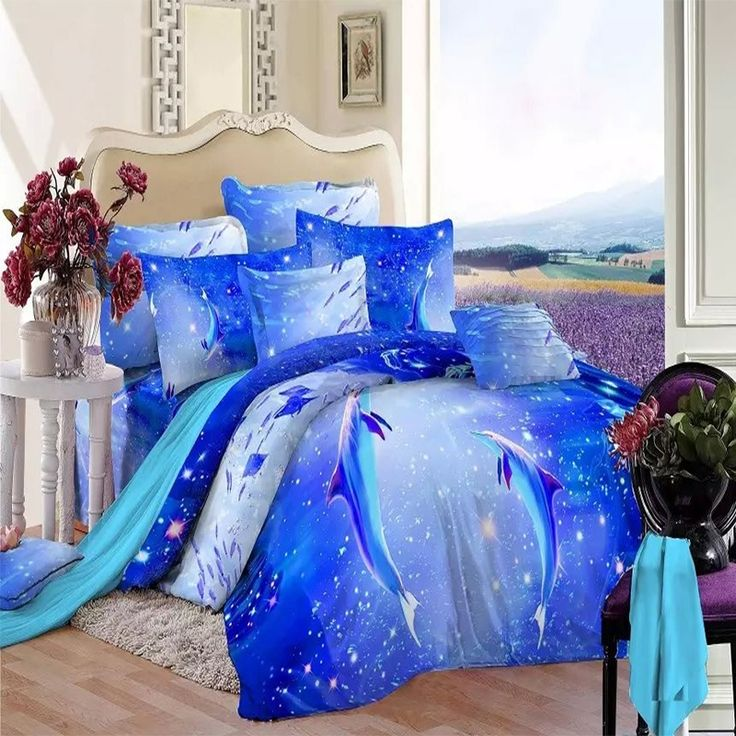ice blue and aqua dolphin print animal themed tropical hawaiian undersea world boys kids cotton damask twin full size bedding sets