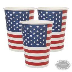 US Papkrus - Amerikansk US tema borddækning - amerikansk flag paptallerken, papkrus, servietter med det amerikanske flag - 4th of july fest bordpynt