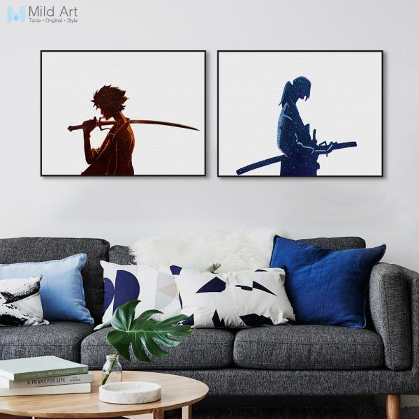 Japanese Samurai Champloo Wall Minimalist Watercolor Watercolor Canvas Anime Wall Art