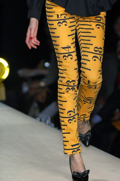 Designer trousers/pants (in a printed tape-measure design ) [Unfortunately, I cannot find the original image source / or the name of the designer anywhere :(!]