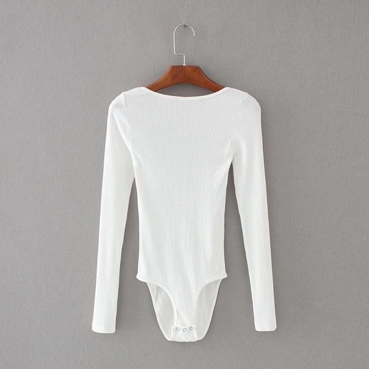 Ladies Bodysuit Leotard Bottoming Shirt Stretch Slim Solid Long Sleeve Tops Sexy