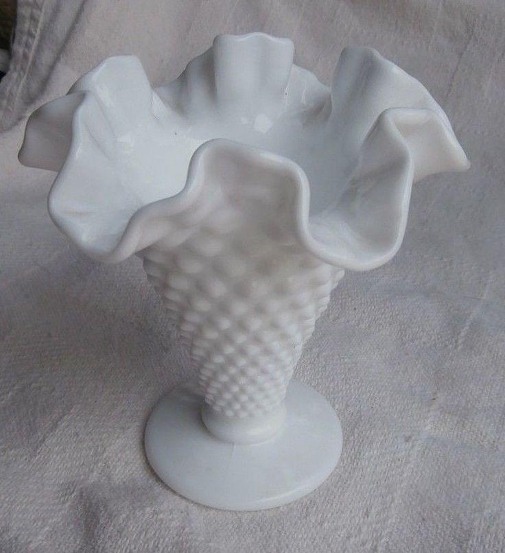 Vintage White Milk Glass Hobnail Ruffle Edge Vase | eBay