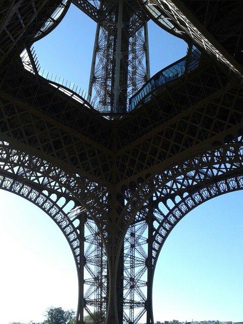 De baixo da Torre Eiffel.