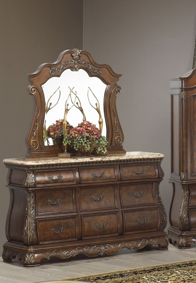 Cleopatra Cherry Wood Dresser And Mirror