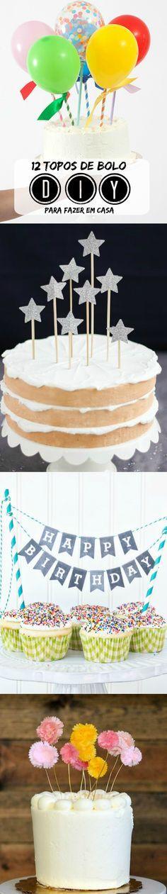 Clique para ver tutoriais e download de topos de bolo de varal de bandeirinhas DIY para fazer em casa.