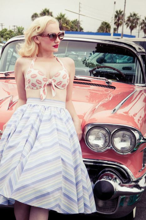 pin-upPink Cars, Retro Cars, Vintage Summer, Pastel Pink, Pinup, Old Cars, Vintage Girls, Pin Up, Retro Style
