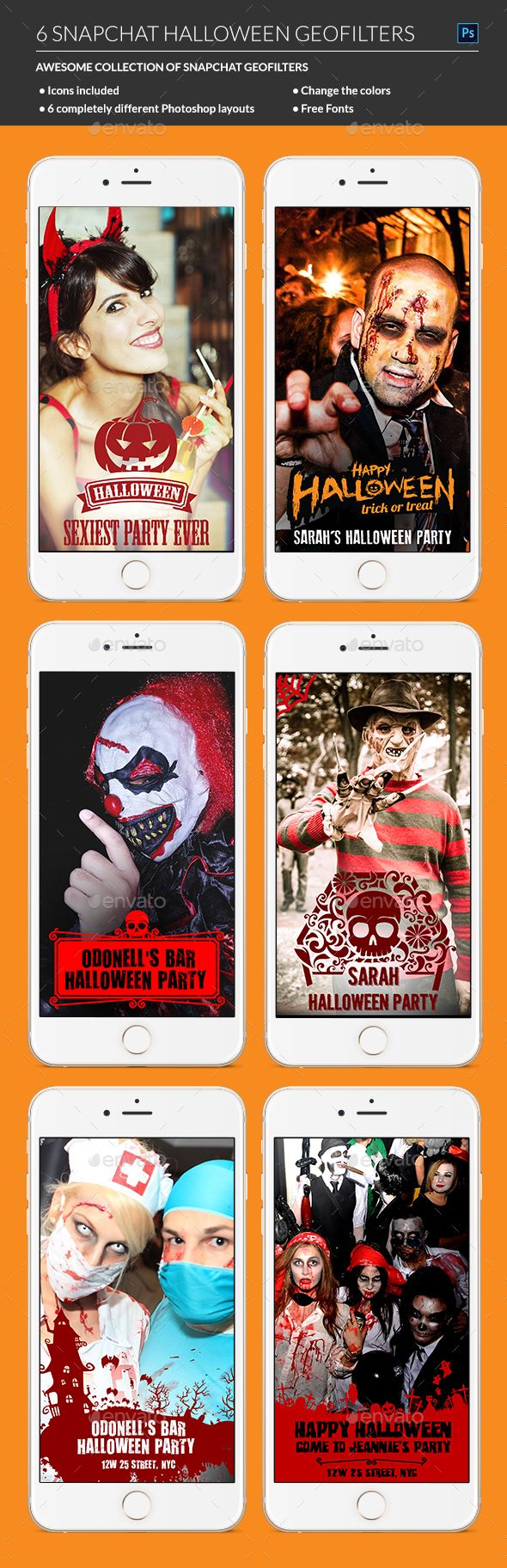 Halloween Snapchat Geofilters - Social Media Web Elements