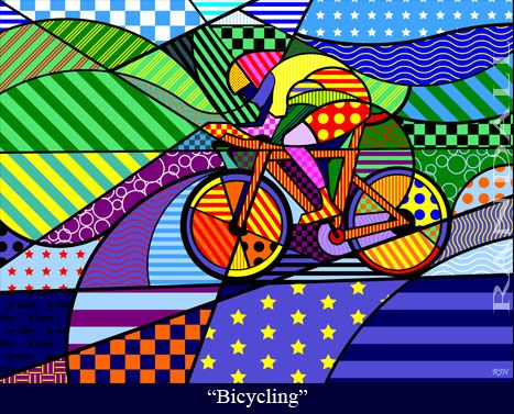 """Bicycling"" from the Sports, A Celebration of Life series. A colorful, vibrant, original art series celebrating sports worldwide."