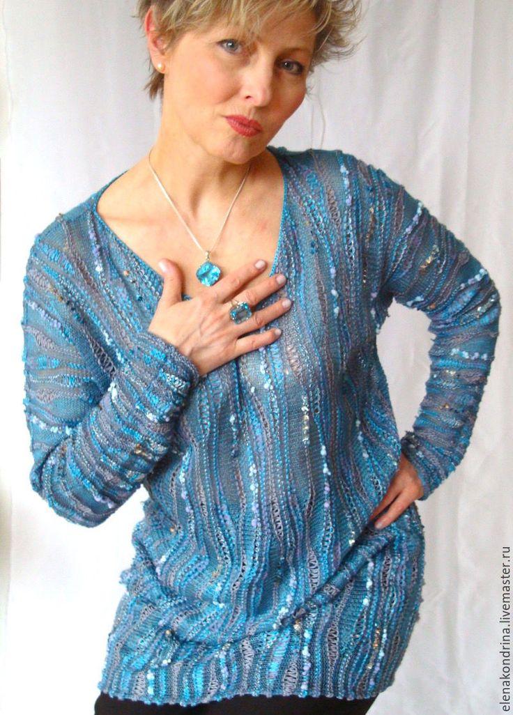 """Купить Джемпер """"Голубой топаз"""" - голубой, дизайнерская одежда, авторский трикотаж, весенняя мода"""
