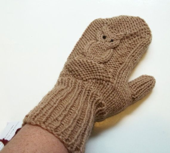 Darling wool mittens featuring a cabled owl. Hand knit from 100% wool. $27 From Stitches In Time