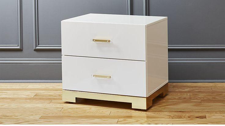 CB2  $400 odessa white gloss nightstand