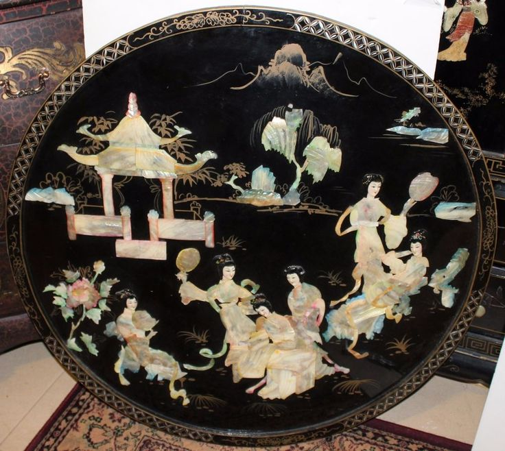 "35"" ROUND VINTAGE ASIAN BLACK LACQUER + MOTHER PEARL"