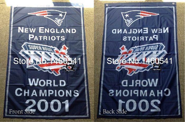 New England Patriots Super Bowl Champions XXXVI 2001 Flag 3ft x 5ft Polyester NFL Team   No.4 96* 144cm QingQing Flag